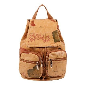 Korean Schoolbag Map Print Backpack Cute Leather Travel Bags for Women
