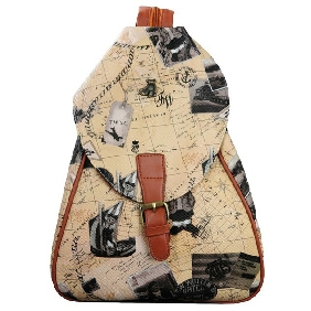 Cheap Multifunctional Map Printed Backpack Casual Fashionable Travel Bags for Women