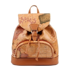 Fashionable Map Printed Backpack Korean Retro Cute Travel Bags for Women