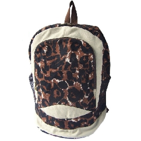 Korean Multifunctional Fashionable Travel Bags Leopard Pattern Canvas Backpack for Women
