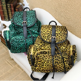 Korean Buckle Fashionable Cute Travel Bags Leopard Pattern Canvas Backpack for Women