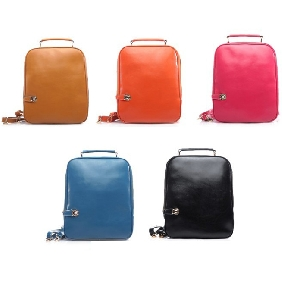 Cute Ipad Korean College Student Schoolbag Genuine Leather Cowhide Backpacks Travelling Bags for Women