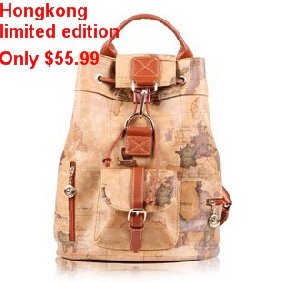 Ladies' Korean College Style Retro Fashionable Casual Map Printed Backpacks Cute Travel Bags for Women