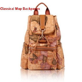 Ladies' Korean College Style Retro Classical Fashionable Casual Map Printed Backpacks Cute Travel Bags for Women